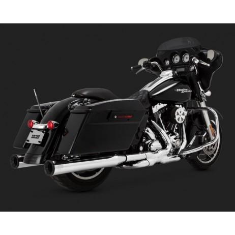 Chromovaný Vance & Hines výfuk ELIMINATOR 400 / BLACK END CAP pro Harley Davidson