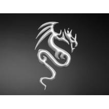 3D samolepka Dragon, malá, chrom