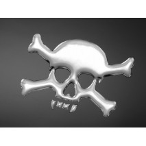 3D samolepka SKULL AND BONES, malá, chrom
