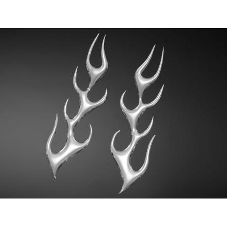 3D samolepka FLAME, malá, chrom