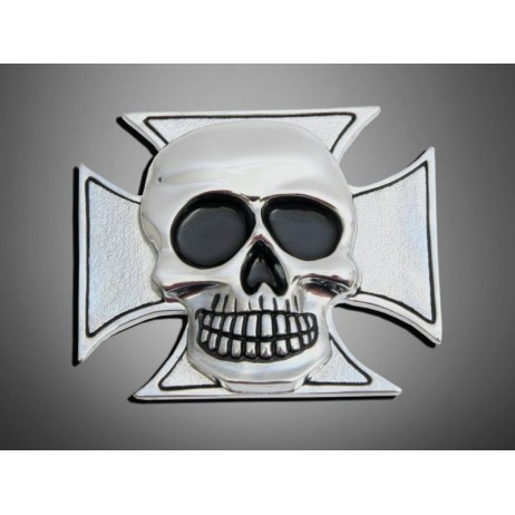 Nalepovací emblem CROSS&SCKULL, chrom