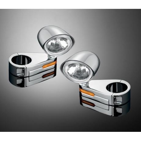 Objímka s integrovaným směrovým světlem na vidlice 56mm s otvorem, chrom