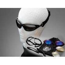Motocyklové brýle SUNGLASSES, multifunkční, černé obroučky