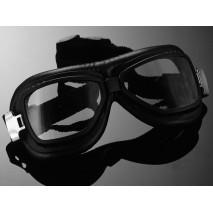 Motocyklové brýle RED BARON, zaoblené sklo, černé