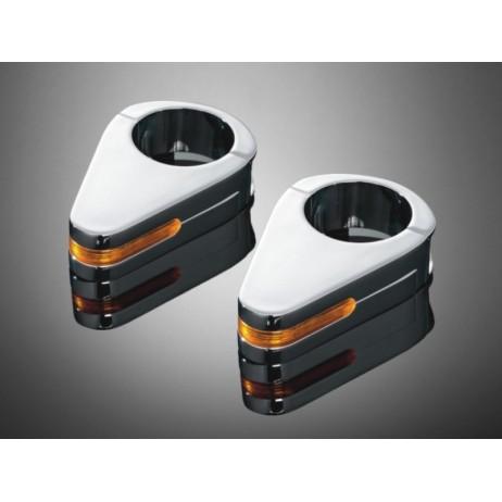Chromovaná objímka s integrovaným směrovým světlem na vidlice 56mm
