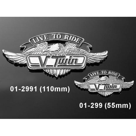 Nalepovací emblem V-TWIN - velký, chrom