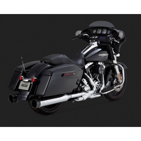 Chromované Vance & Hines koncovky výfuku OVERSIZED 450 TITAN SLIP-ONS BLACK TIP pro Harley Davidson