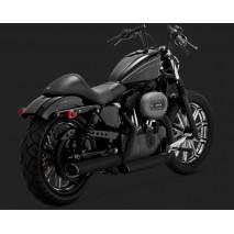 Chromovaný Vance & Hines výfuk EC TWIN SLASH BLACK SLIP-ONS pro Harley Davidson