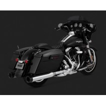 Chromovaný Vance & Hines výfuk OVERSIZED 450 DESTROYER SLIP-ONS BLACK TIP pro Harley Davidson