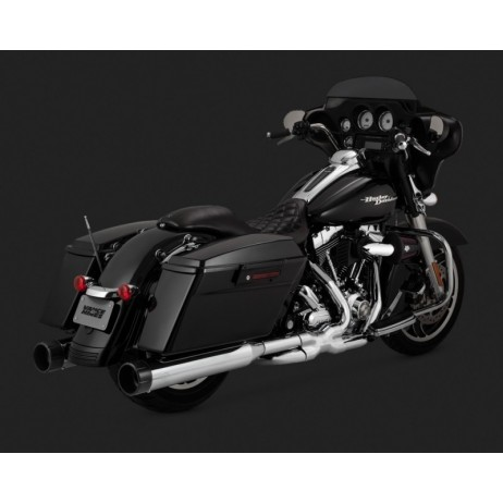 Chromovaný Vance & Hines výfuk OVERSIZED 450 RAIDER SLIP-ONS BLACK TIP pro Harley Davidson