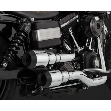 Chromovaný Vance & Hines výfuk HI-OUTPUT GRENADES 2-INTO-2 CHROME / BLACK pro Harley Davidson