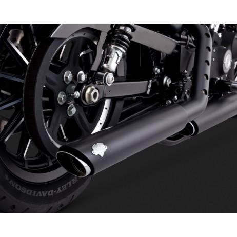 Černý Vance & Hines výfuk TWIN SLASH 3-INCH SLIP-ONS BLACK pro Harley Davidson