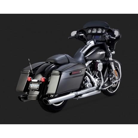 Chromovaný Vance & Hines výfuk TWIN SLASH ROUND SLIP-ONS pro Harley-Davidson