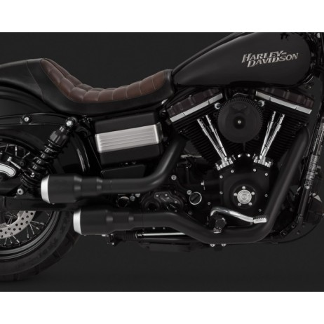 Černý Vance & Hines výfuk HI-OUTPUT GRENADES 2-INTO-2 / PEARL NICKEL pro Harley-Davidson