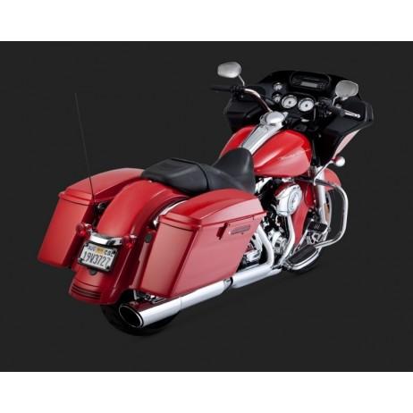 Chromovaný Vance & Hines výfuk TWIN SLASH 2-INTO-1 SLIP-ON pro Harley-Davidson