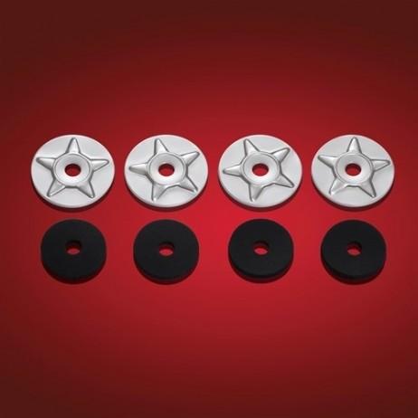 Chromované podložky s emblémem hvězdy a gumovou podložkou